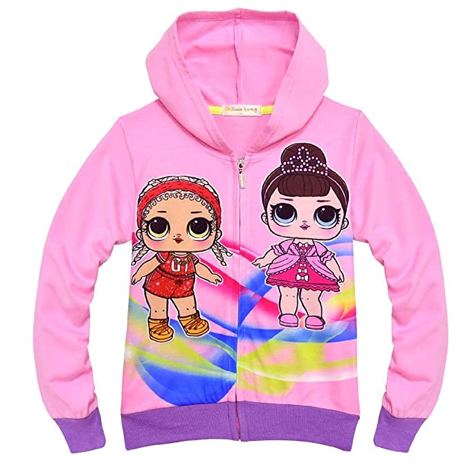c25ee7cf6 zaring Girls Zip Hoodie Sweatshirt Children Coat Cartoon Jacket Outwear Doll  Surprise (08-Pink