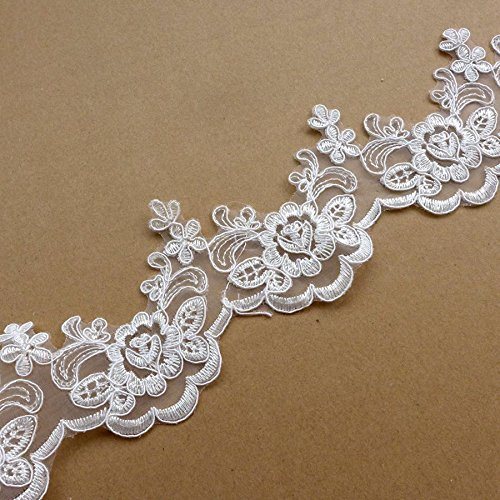 5 yards off white robin lace trim 8cm width wedding dress//party dress//girl dress lace trimming