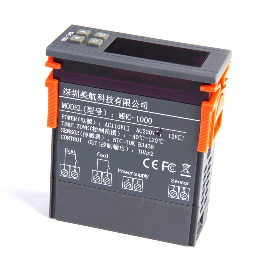 Digital LCD Display Temperaturregler Sensor Thermostat MHC-1000  DC 220V