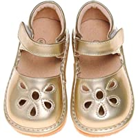 LilyPipSqueak Toddler Girl Squeaky Shoes Petal Gold Free Stoppers (9 Toddler)