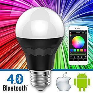Lumen8 Bluetooth 7.5W Multi-Colored Smart LED Light Bulb; Smartphone Controlled, Dimmable - Works with iPhone, Android Phone and Tablets (BT7WB1)