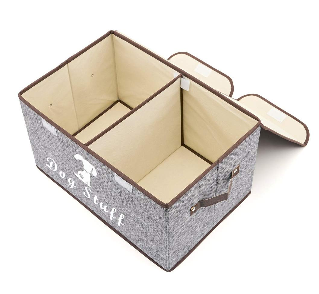 Perfect Collapsible Bin for Organizing Dog Cat Toys and Accessories Large Dog Toys Storage Box Canvas Storage Basket Bin Organizer with Lid Light Gray