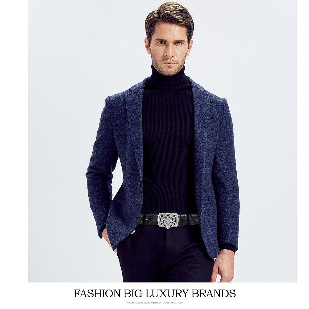 Men's Belts Luxury Genuine Leather Black Dress Belt for Men Alligator Pattern Tiger Plaque Buckle by PRINCE GERA (Image #5)