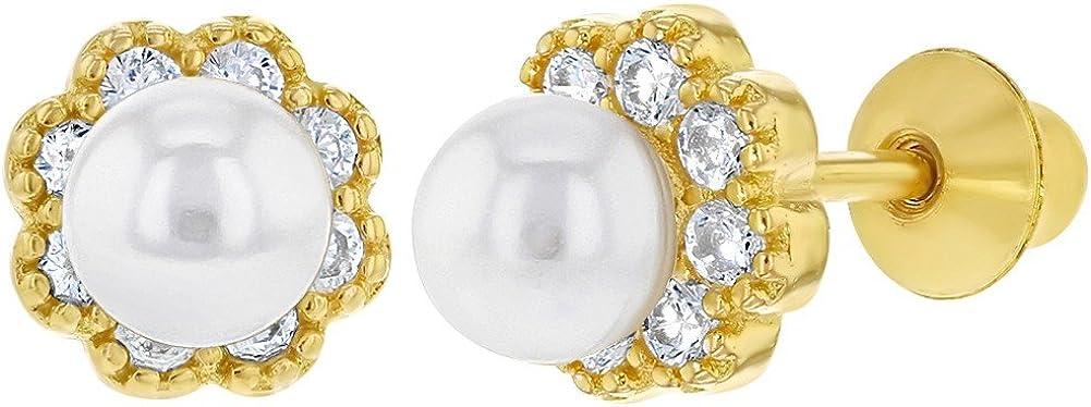 In Season Jewelry - 925 Plata de Ley Circonitas Blancas y Perla de Imitación Aretes de Flor para Niñas