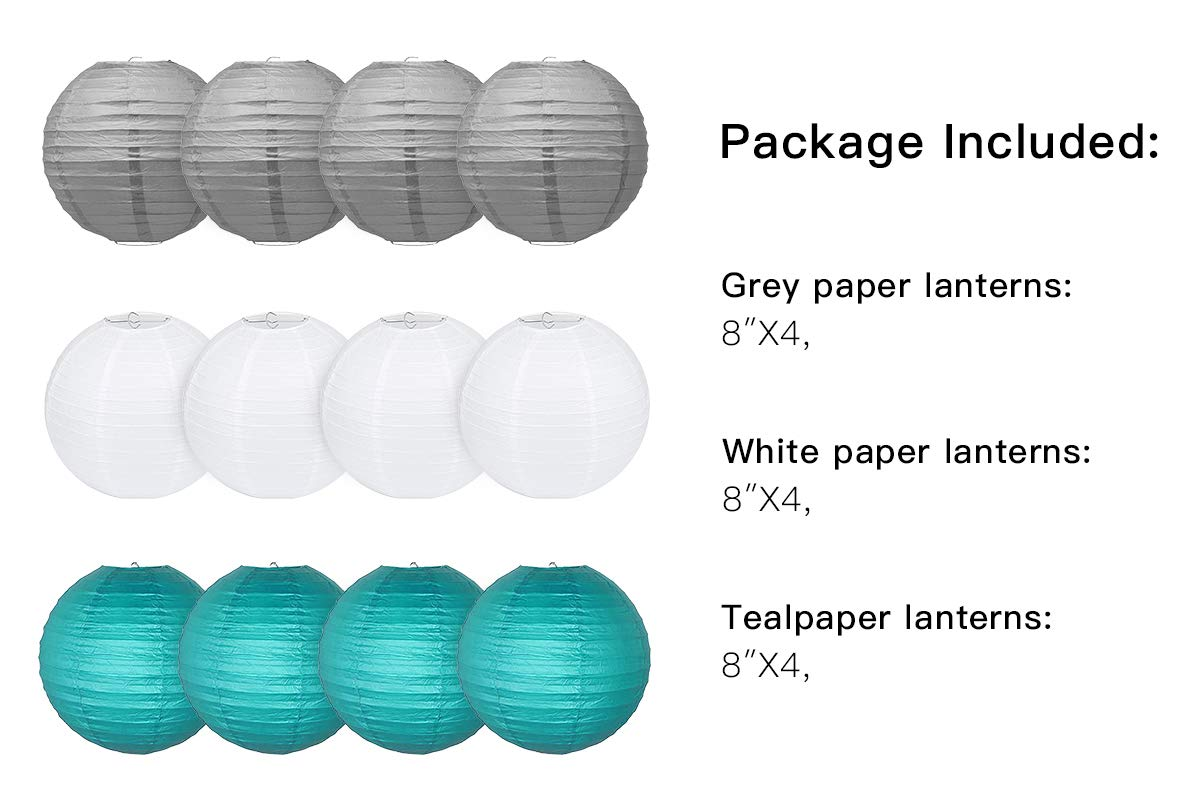Furuix 10 pcs Teal 8inch Paper Lanterns Mixed Package for Teal Themed Party Wedding Bridal Shower Decor Teal Baby Shower Decoration Room and Family Picnic Decoration Teal