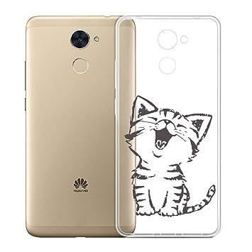 Funda para Huawei Y7 Prime 2017 / Huawei Y7 2017 / Enjoy 7 Plus , IJIA Transparente Gato Lindo TPU Silicona Suave Cover Tapa Caso Parachoques Carcasa ...