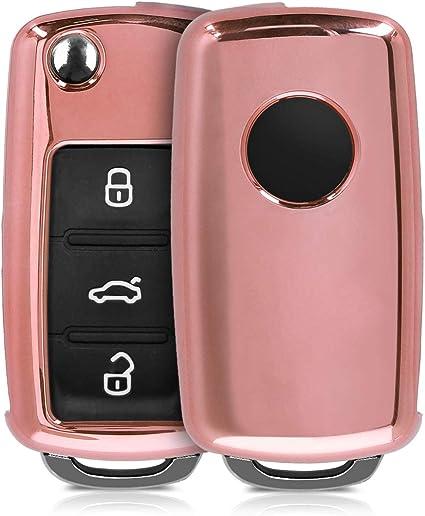 Cubierta de Cuero sint/ético Case para Mando y Control de Auto en Negro kwmobile Funda para Llave de 3 Botones para Coche VW Skoda Seat