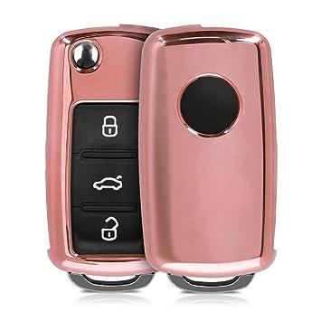kwmobile Funda para Llave de 2-3 Botones para Coche VW Skoda Seat - Carcasa Suave de TPU para Llaves - Cover de Mando y Control de Auto en Rosa Oro ...