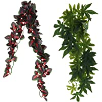 Blesiya 2pcs Realistic Jungle Plant Decor Reptile Lizard Frogs Pet Reptile Supplies