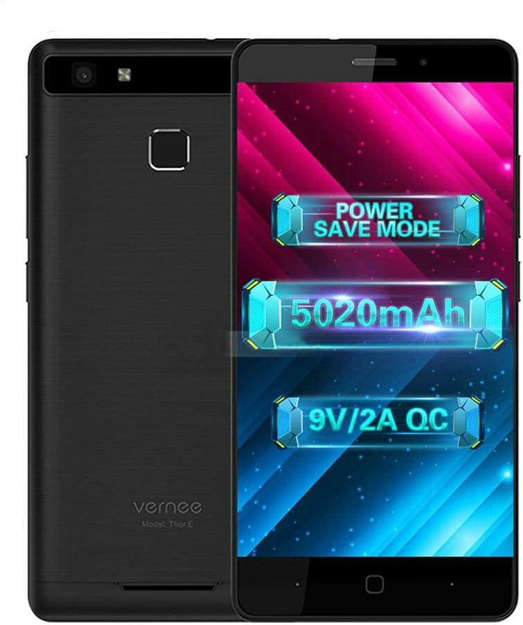 Vernee Thor E Smartphone Libre Barato 4G Android 7.0 Octa Core de 5 Pulgadas Dual SIM 16GB ROM 3GB RAM Cuerpo Metal Huellas Digitales Dual Cámara 5MP + 13MP 5020mAh 30min Carga