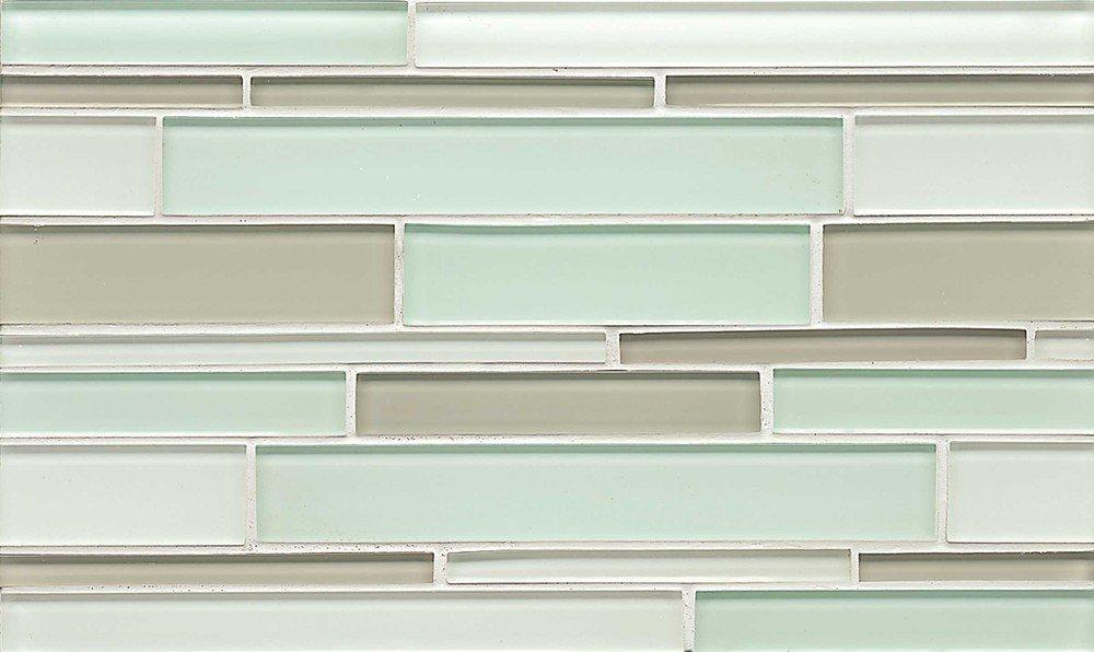 Bedrosians GLSHAMSPARIGB ''Hamptons Glass'' Mosaic with Random Interlocking Pattern in Gloss Blend, 16'' x 6.5'', Spa