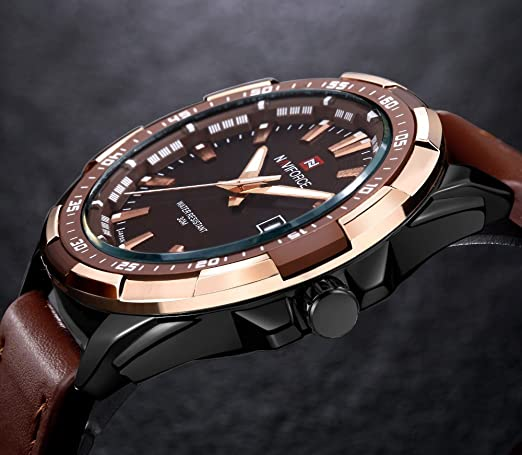 Amazon.com: NAVIFORCE Men Quartz Casual Sports Watches Leather Wrist Military Watch (Brown/Gold): Watches
