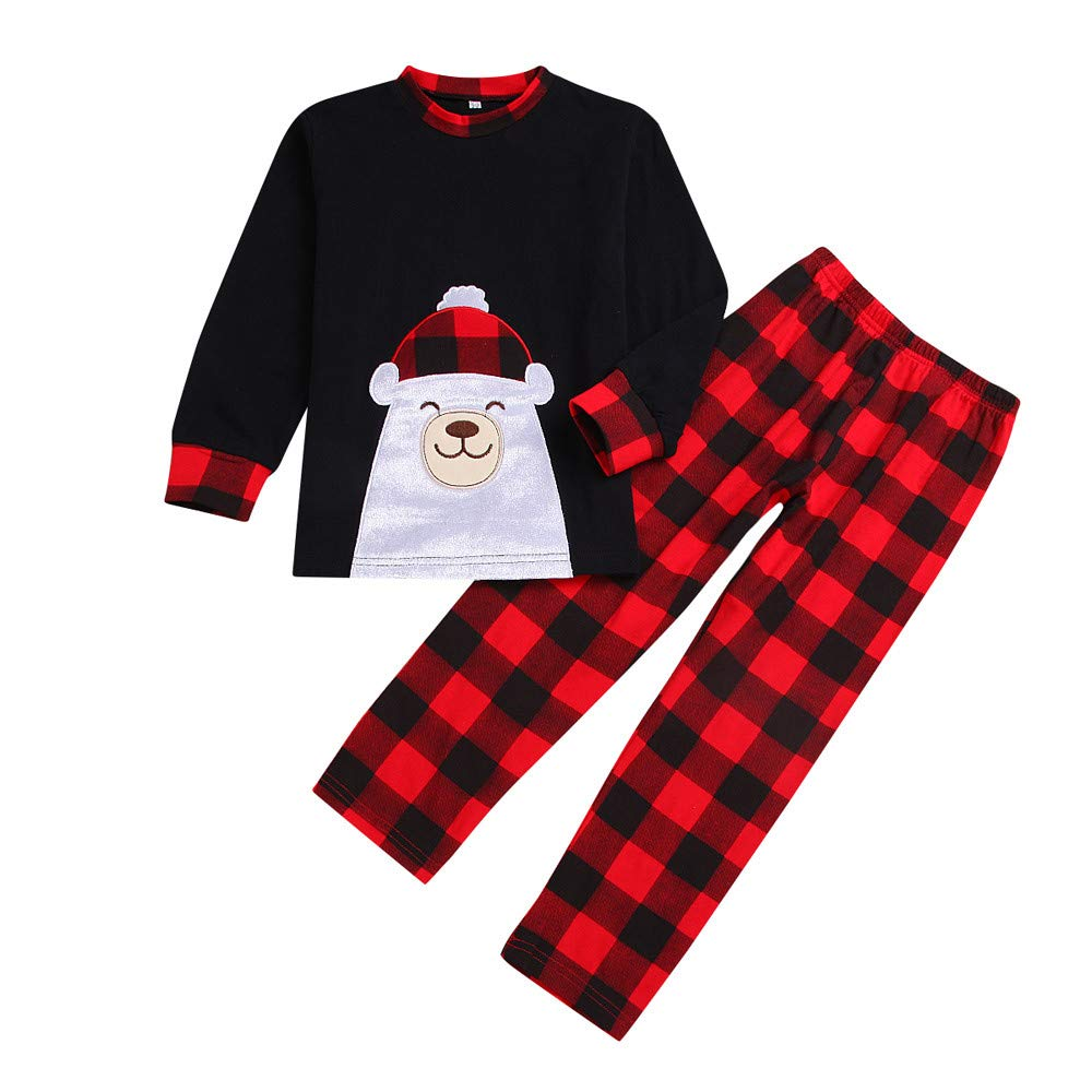 (2T-7T) Kids Family Christmas Bear Pajamas Plaid Pants Set Sleepwear Nightwear