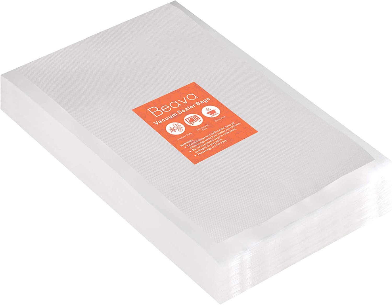 Vacuum Sealer Bags 12x16 Inch, Beava 100pcs Precut Embossed Vacuum Sealer Freezer Bags Heavy Duty Commercial Grade Food Saver Bags for Seal a Meal, Sous Vide or Meal Prep