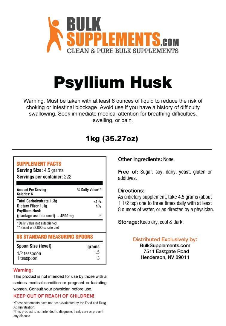 Bulksupplements Psyllium Husk Powder (1 Kilogram) by BulkSupplements