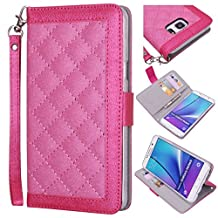 Samsung Galaxy Note 5 Wallet Wristlet Case, True Color® Slim & Stylish Magnetic Folio Quilted Wristlet Cover Purse Clutch with removable Wrist Strap + Media Stand - Hot Pink…