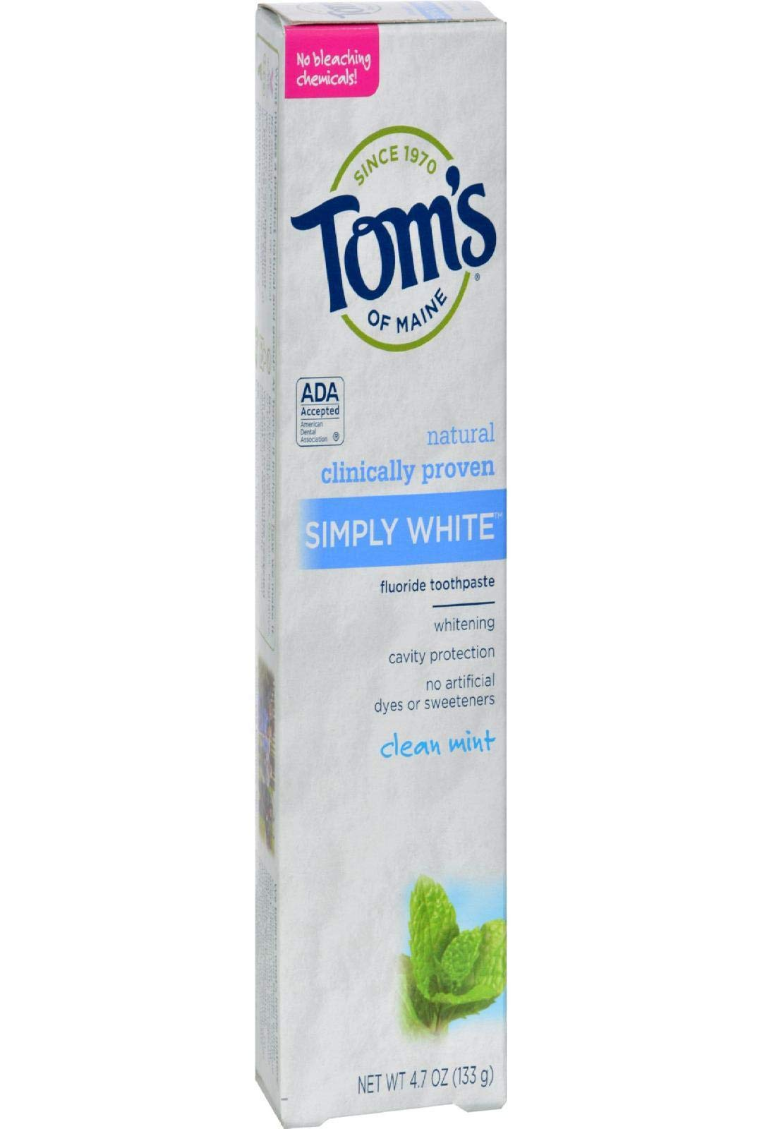 Tom's of Maine Simply White Toothpaste, Fluoride, Clean Mint, 4.7 oz.