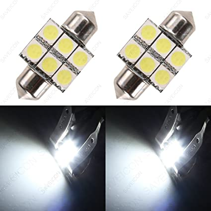 Pack of 2 2xWhite 31MM Dome Map Interior LED Light 3528 6-SMD Lamp
