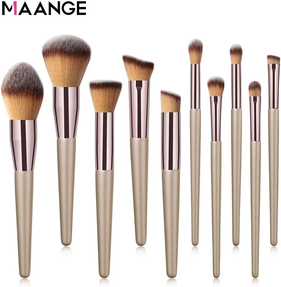 MAANGE 10 Pieces profesional de brochas de maquillaje Conjunto de pinceles de maquillaje Set Makeup Brush Profesional Pincel de Maquillaje