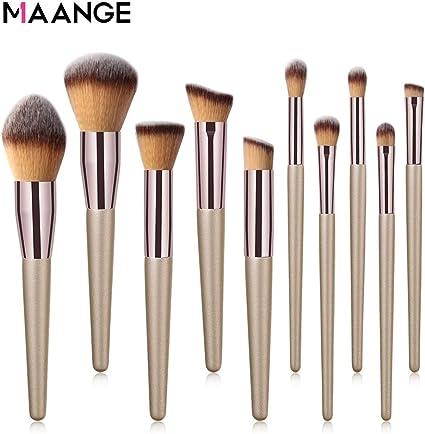 MAANGE 10 Pieces profesional de brochas de maquillaje Conjunto de pinceles de maquillaje Set Makeup Brush Profesional Pincel de Maquillaje: Amazon.es: Belleza