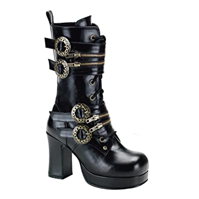 Amazon.com | 3 3/4 Inch Gothic Ankle Boots Chunky Heel Steampunk ...
