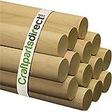 "Wooden Dowel Rods - 2"" x 36"" Unfinished Hardwood Sticks - For Crafts and DIY'ers - Craftparts Direct - Bag of 1"