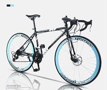 MJY Bicicleta de carretera, bicicletas de 24 velocidades de 26 pulgadas, freno de doble disco, cuadro de acero de alto carbono, carreras de bicicletas de carretera, hombres y mujeres adultos 6-24,F: Amazon.es: