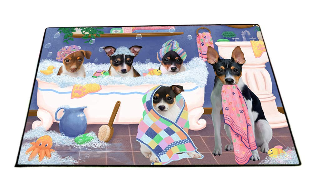Rub A Dub Dogs In A Tub Rat Terriers Dog Floormat FLMS53619 (24x36) by Doggie of the Day
