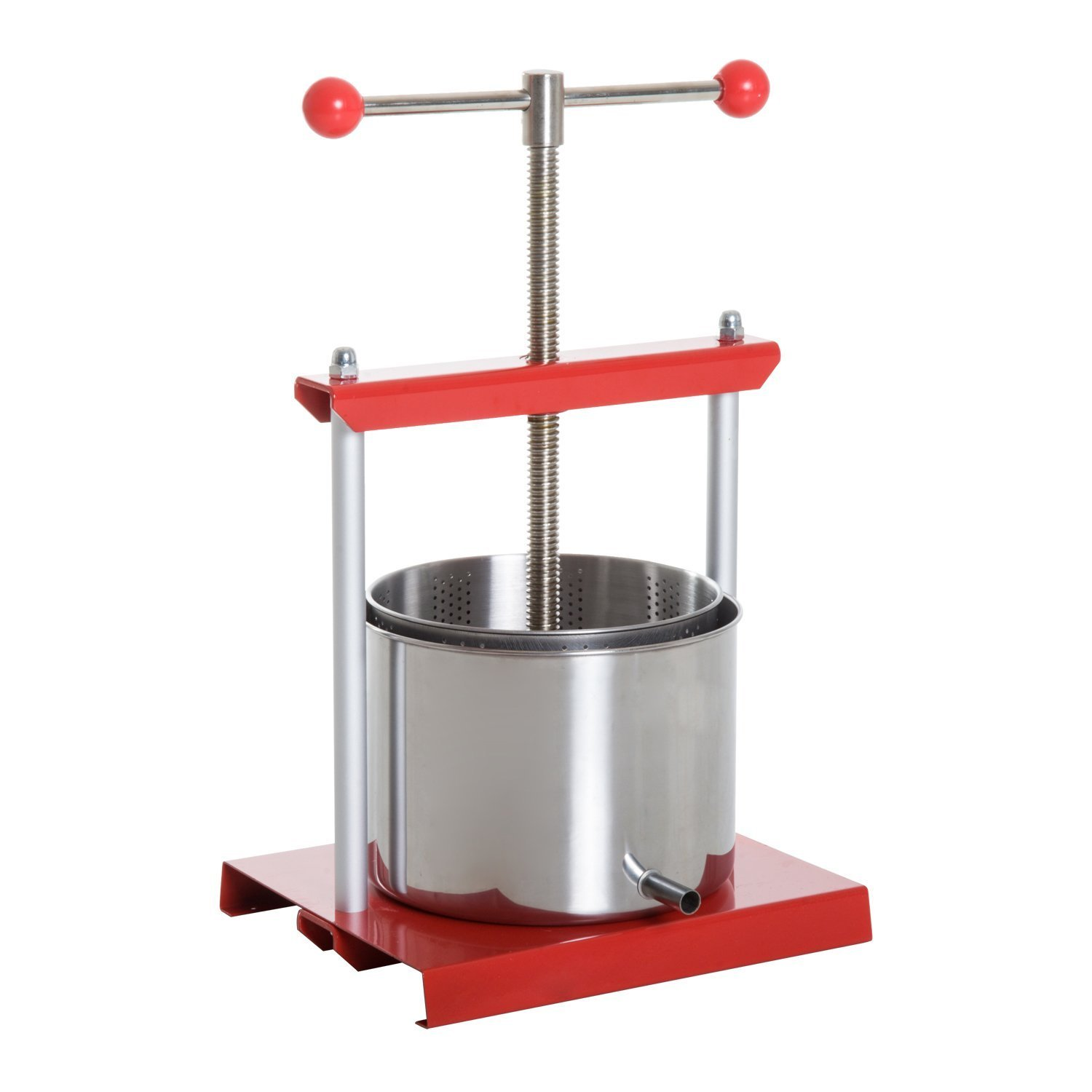 HOMCOM 1.4 Gallon Stainless Steel Fruit Juice Maker and Wine Press - Red