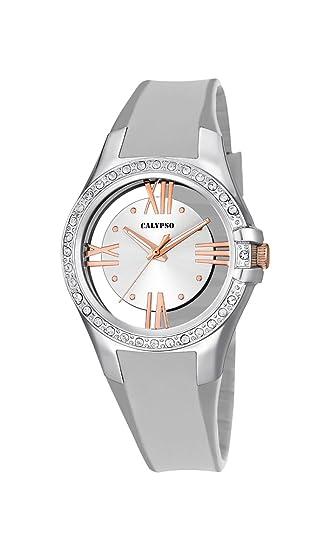 Calypso - Reloj de Cuarzo para Mujer con Esfera analógica de Plata y Pulsera de plástico Color Plateado K5680/1: Amazon.es: Relojes