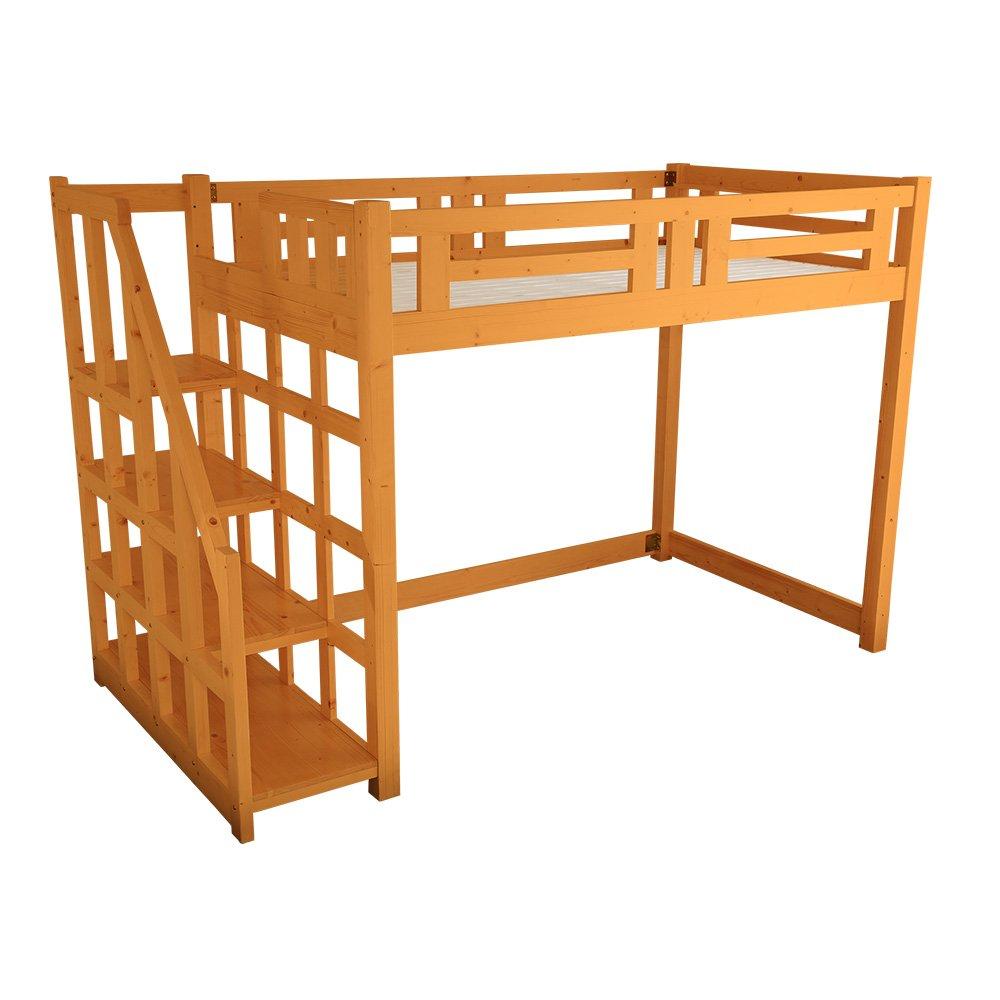 子供部屋 大人でも使える おしゃれなロフトベッド シングル ライトブラウン 木製(すのこ天然木階段付き分割可能) B07D3SGVT5 ライトブラウン ライトブラウン