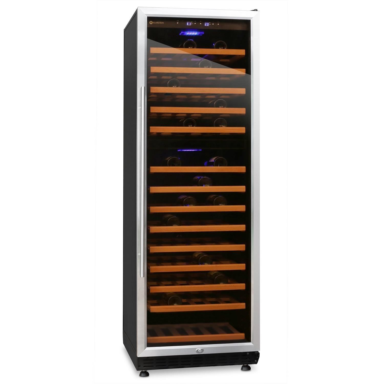Klarstein Gran Reserva 180 Weinkü hlschrank Geträ nkekü hlschrank (fü r 180 Flaschen, 13 Holz-Regaleinschü be, Glastü r, LCD-Display) schwarz-silber HEA2-Gran-Reserva