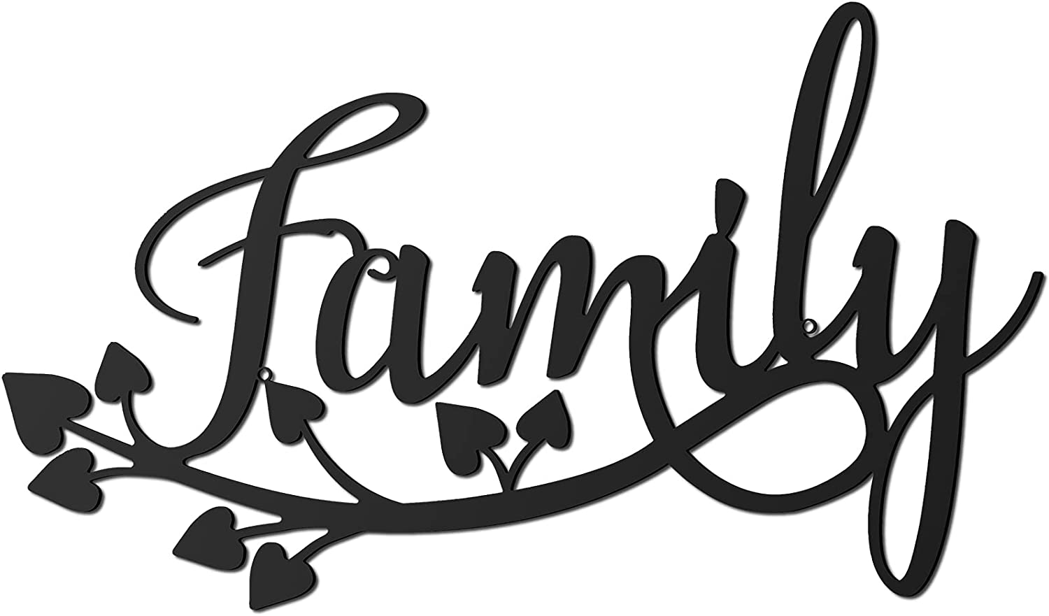 Family Metal Wall Sign Black Metal Word Sign Family Hanging Wall Art Country Home Decor for Home Dining Room Kitchen Door Decorations
