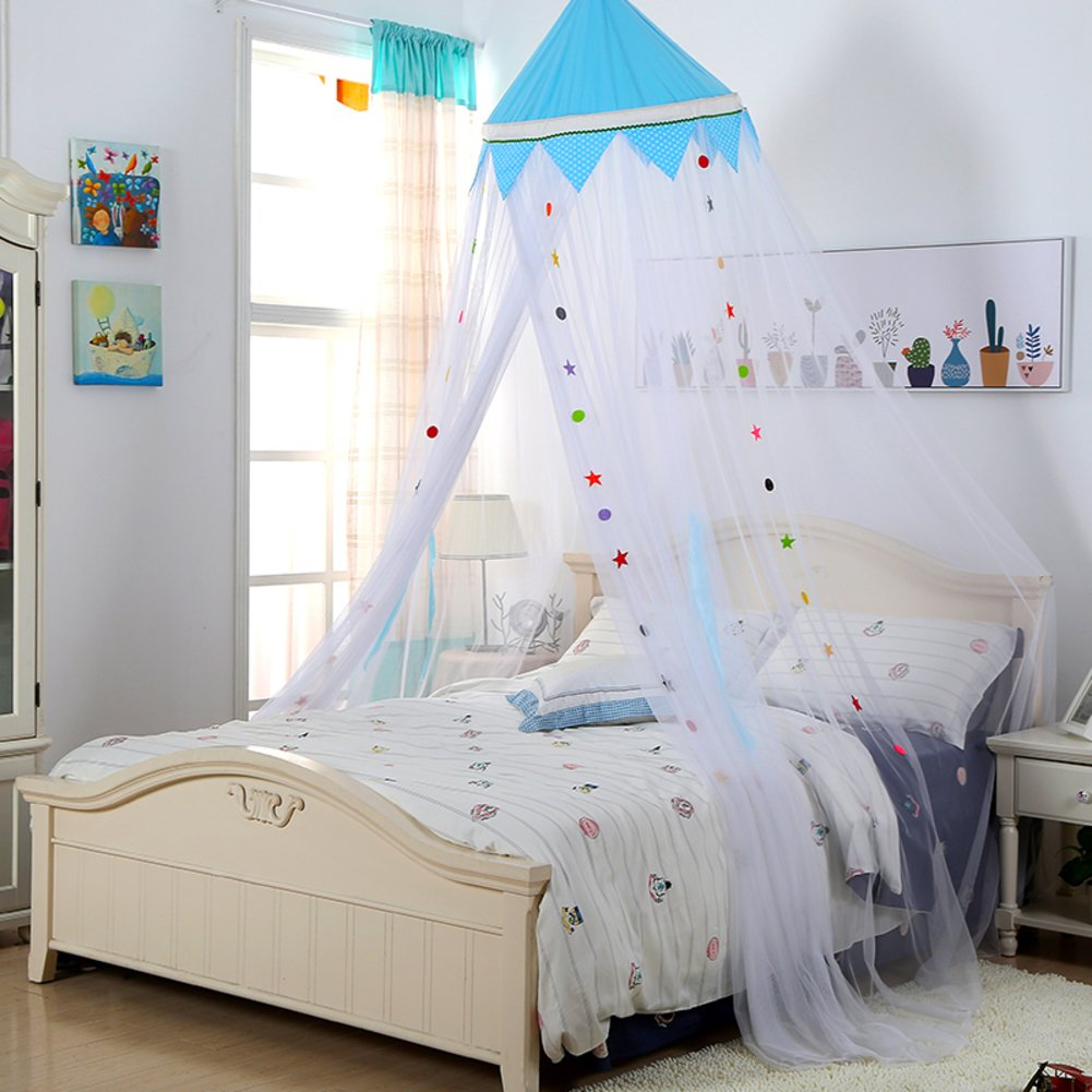 Colorful children's room ceiling type princess mosquito net, Dome Floor Baby bed canopy mosquito curtain -B Twin2
