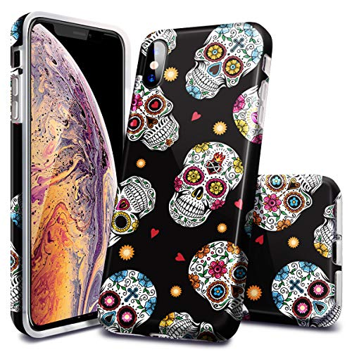 Fingic Apple iPhone Xs Case,iPhone X Case, Halloween Design Gift TPU Soft Case Rubber Silicone Cover for Apple iPhone Xs (2018) -Skull