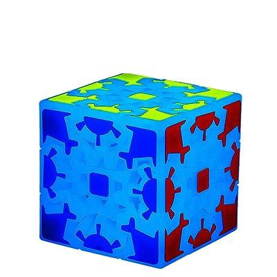3x3 Bleu Lumineux Magique Gear Cube Brain Teaser Adulte Libérant Pression Vitesse Cube Puzzle Jouet