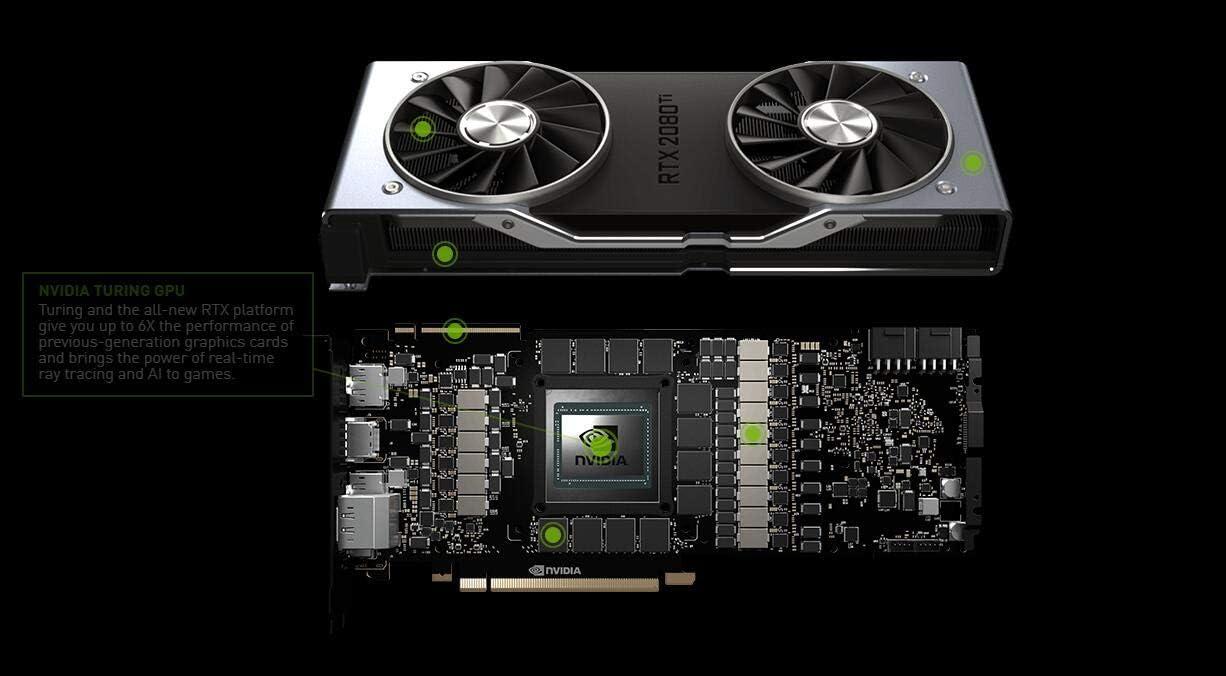 Nvidia GEFORCE RTX 2080 TI Founders Edition 11 GB GDDR6 - Tarjeta gráfica (GeForce RTX 2080 Ti, 11 GB, GDDR6, 352 bit, 7680 x 4320 Pixeles, 2 ...
