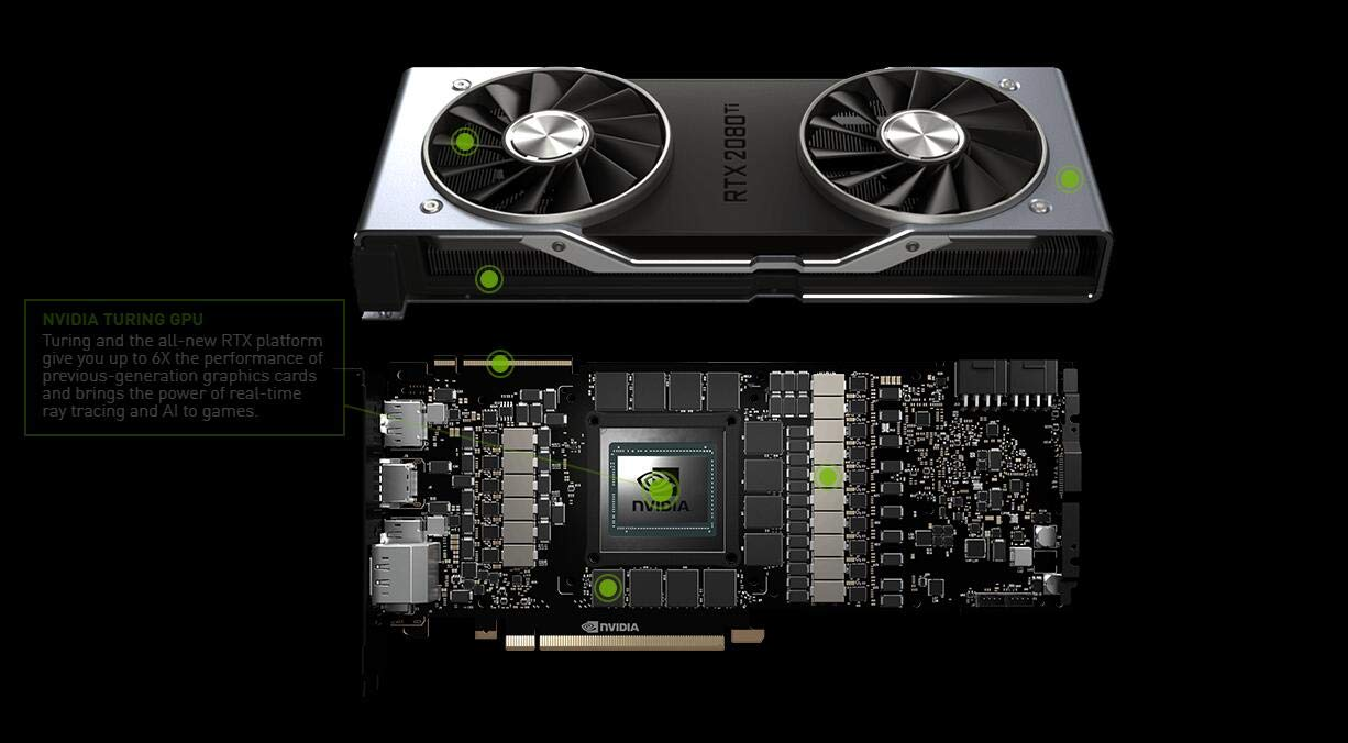 Nvidia GEFORCE RTX 2080 TI Founders Edition 11 GB GDDR6 - Tarjeta gráfica (GeForce RTX 2080 Ti, 11 GB, GDDR6, 352 bit, 7680 x 4320 Pixeles, ...