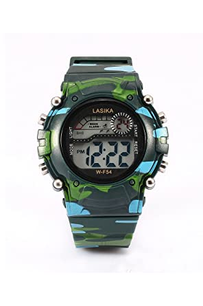 Negro Camuflaje - LASIKA Reloj de pulsera digital para Deporte Natacion de camuflaje de chico nino