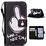 iPhone 7 Plus Case,iPhone 7 Plus Leather Wallet Case,Maoerdo [Have a Nice Day] Built-in Card Slots Folio Flip Kickstand Feature Magnetic PU Leather Wallet Case Cover for Apple iPhone 7 Plus