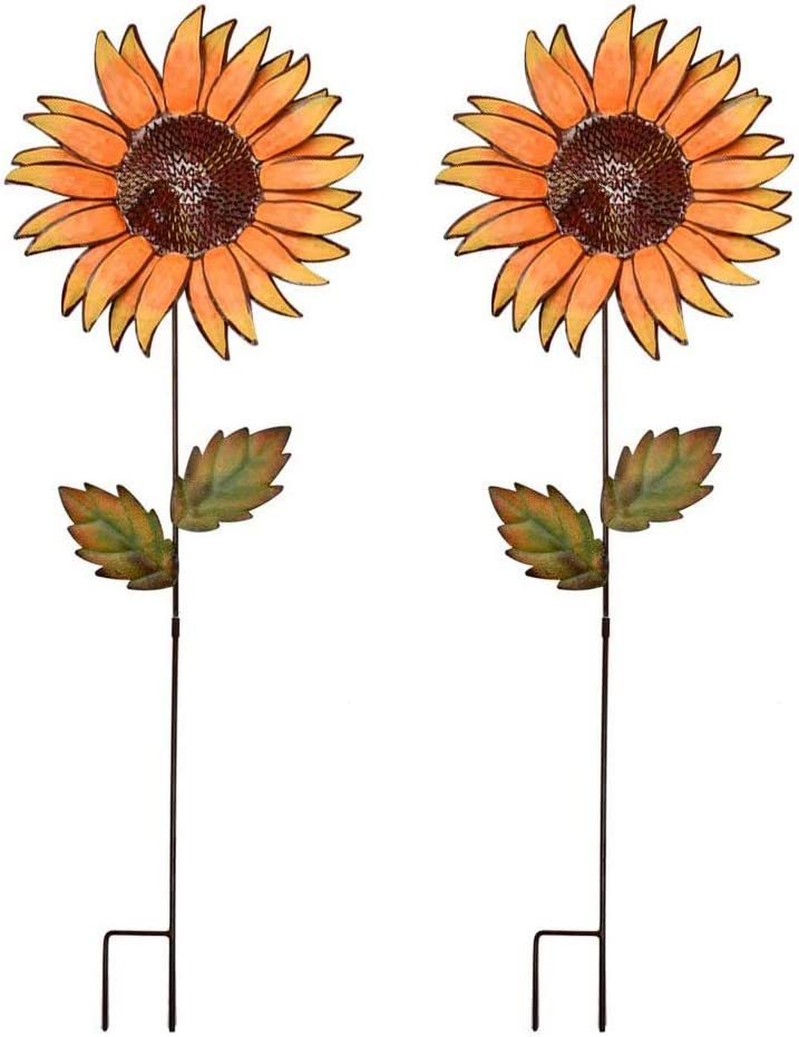 "E-view Metal Sunflower Garden Stakes - Spring Outdoor Decorative Plant Flower Stake - Lawn & Yard Ornaments (36"" Set of 2)"