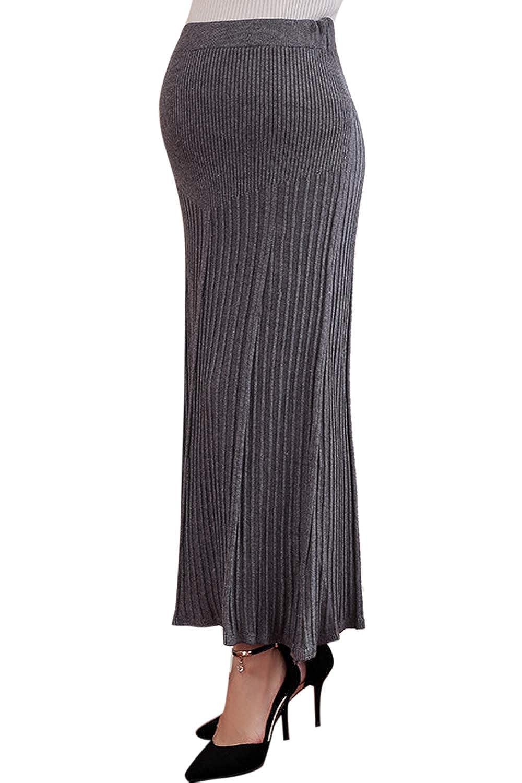 Fanvans Women Maternity Skirts High Waist Pleated Knit Pregnant Dress