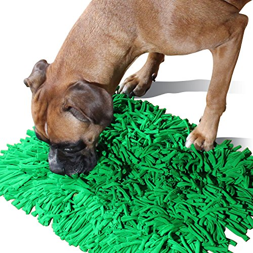 Feed Mat (Amazy Snuffle Mat Slow-Feed Bowl Alternative | Interactive Pet Toy and Smart Toy for Dogs and Cats, Dog Food Mat that Engages Natural Foraging as a Treat Dispenser for Dogs (Small 13.8 x 17.7 in))