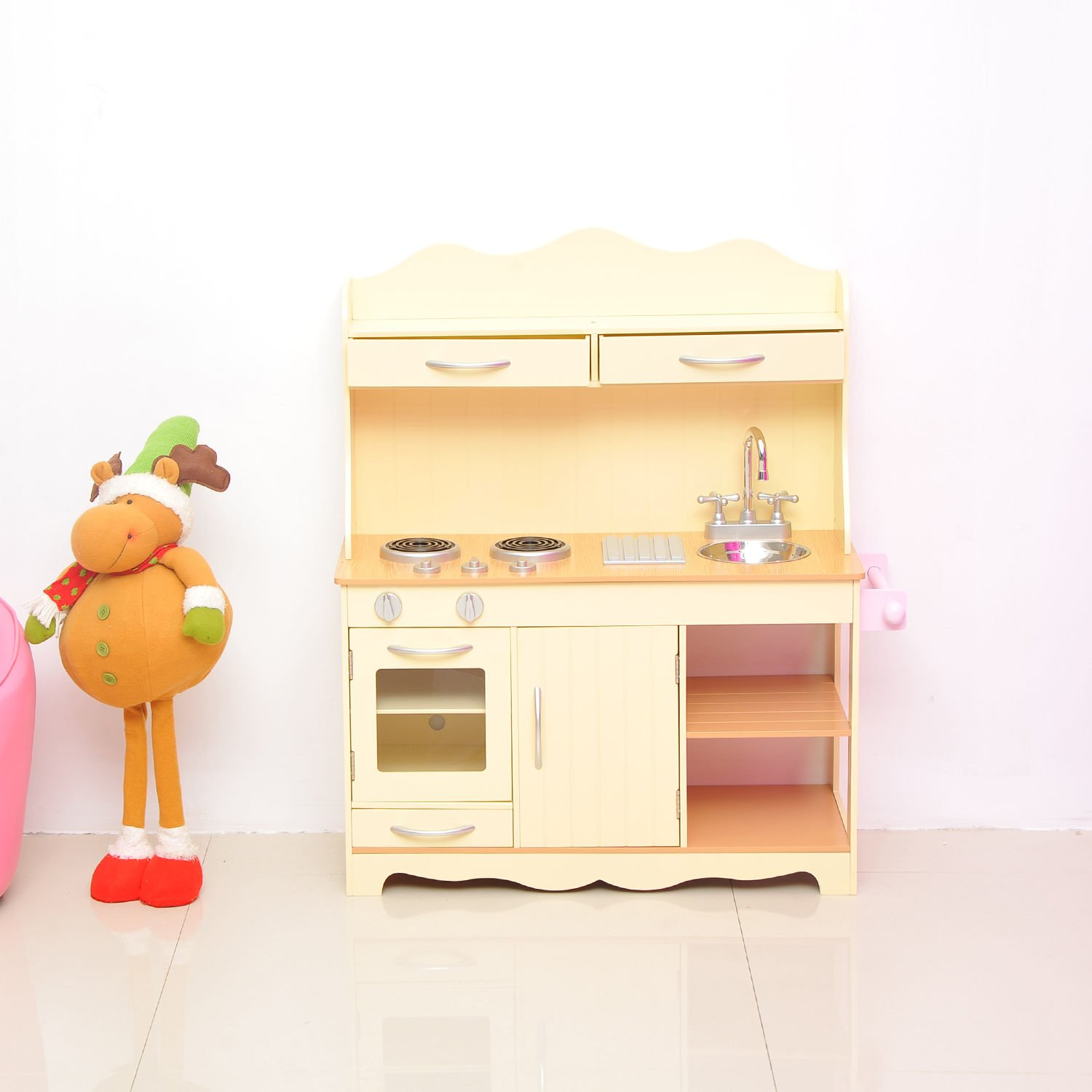 a26c637e0628 HOMCOM Large Wooden Kids Kitchen Children's Pretend Role Play Set Cooking  Toys Cooker Imagination Early Learning: Amazon.co.uk: Garden & Outdoors