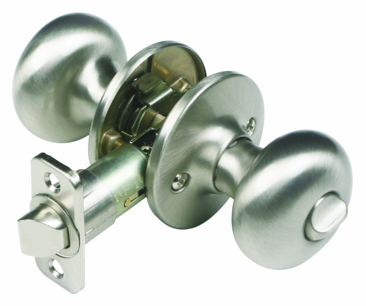Design House 741314 Cambridge Universal Latch Privacy Door Knob, Adjustable Backset, Satin Nickel Finish
