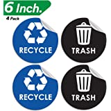 "Recycle Trash Bin Logo Sticker - 6"" x 6"" - Organize & Coordinate Garbage Waste from Recycling - Great for Metal Aluminum Steel or Plastic Trash Cans - Indoor & Outdoor - Use at Home Kitchen & Office"