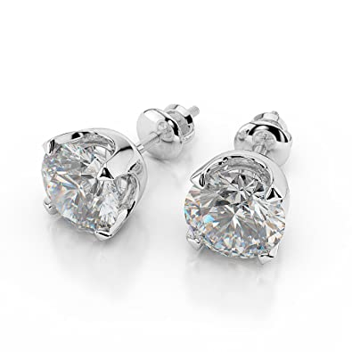 a91029fe90b6f 1 1/4 TCW Natural Real Round Diamond Stud Earrings H/SI1 (Clarity ...