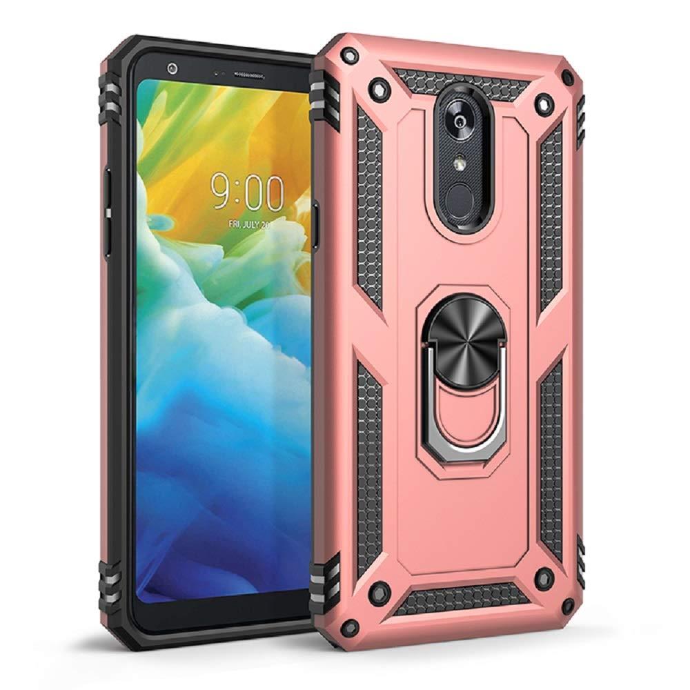 for LG Stylo 4|LG Stylo 5 Phone Shell Frame Shockproof Durable TPU Soft 360 Degree Ring Bracket Base Magnetic Cover (LG Stylo 5, Rose Gold) by hongmeng
