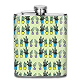 Cactus Potted Plants 7 Oz Liquor Hip Stainless Flask