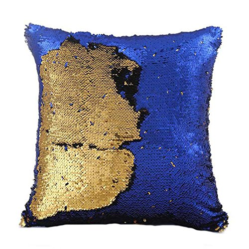 Fivbop Funny Two-Color Decorative Pillow Case Square Paillette Throw Mermaid Sequins Cushion Covers 16 X 16 for Home Decor Party/Sofa/Bed (Gold+Royal Blue) (Royal Gold Blue And Pillows)